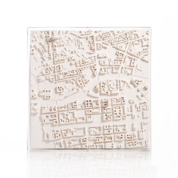 Berlin Cityscape Framed 5000 Model. Product Shot Front View. Architectural Sculpture by Chisel & Mouse