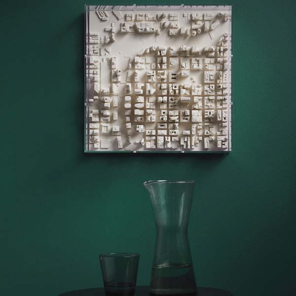 Chicago Cityscape Framed 5000 Model. Lifestyle Shot. Architectural Sculpture by Chisel & Mouse