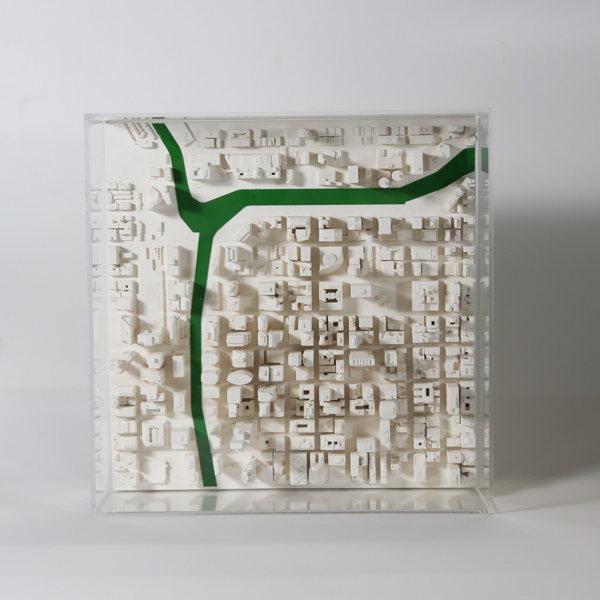 Chicago Cityscape 1:5000. Product Shot Front View. Architectural Sculpture by Chisel & Mouse