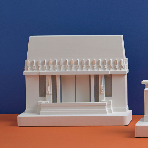 Hollyhock House Model. Lifestyle Shot. Architectural Sculpture by Chisel & Mouse
