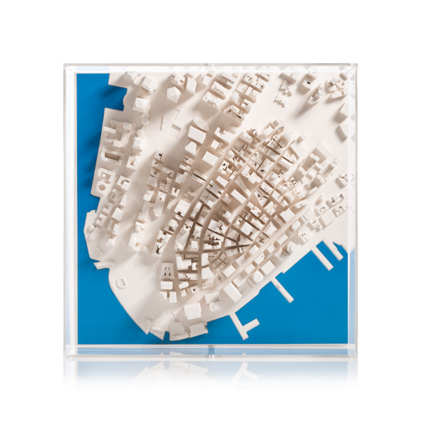 New York Cityscape 1:5000. Product Shot Front View. Architectural Sculpture by Chisel & Mouse