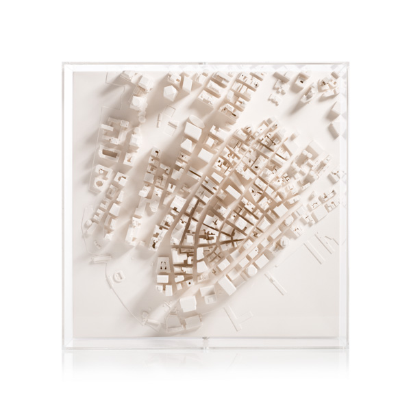 Manhattan Cityscape Framed 5000 Model. Product Shot Front View. Architectural Sculpture by Chisel & Mouse