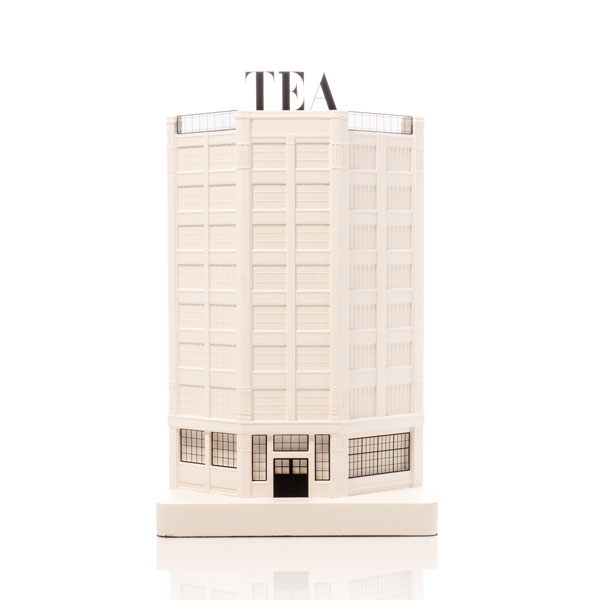 Tea Building Model. Product Shot Front View. Architectural Sculpture by Chisel & Mouse