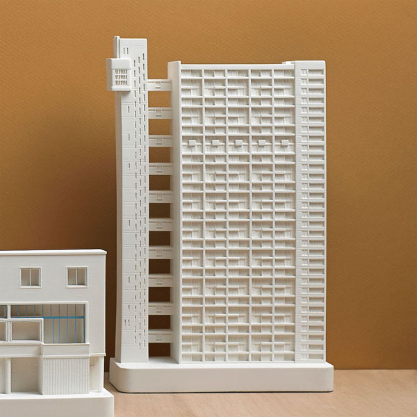 Trellick Tower Model. Lifestyle Shot. Architectural Sculpture by Chisel & Mouse