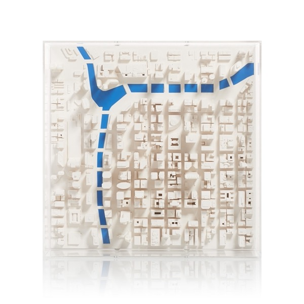 chicago Cityscape Model. Product Shot Front View. Architectural Sculpture by Chisel & Mouse